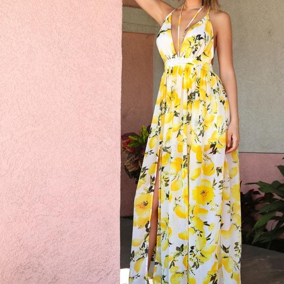 06e3c65134 Shein Dresses | Lemon Print Chiffon Maxi Dress Ivory | Poshmark